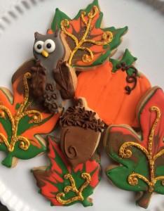 Fall Leaves Owl Acorn Pumpkin